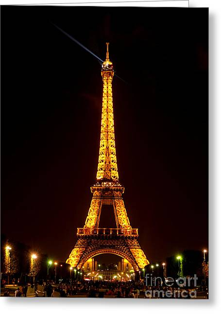 Gathering Photographs Greeting Cards - Eiffel Tower Night Greeting Card by Olivier Le Queinec