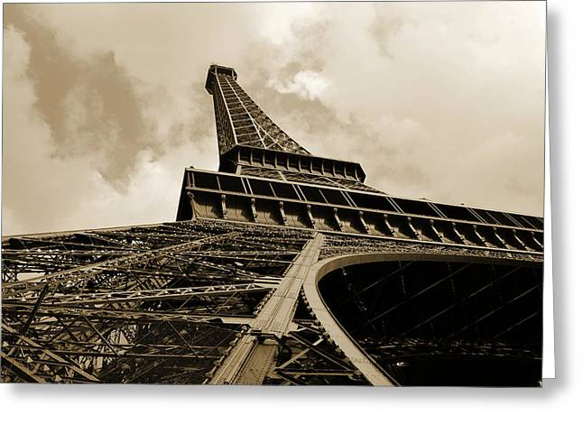Eiffel Tower Paris France Black And White Greeting Card by Patricia Awapara