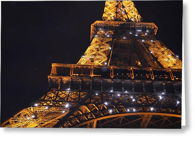 Eiffel Tower Paris France Illuminated Greeting Card by Patricia Awapara