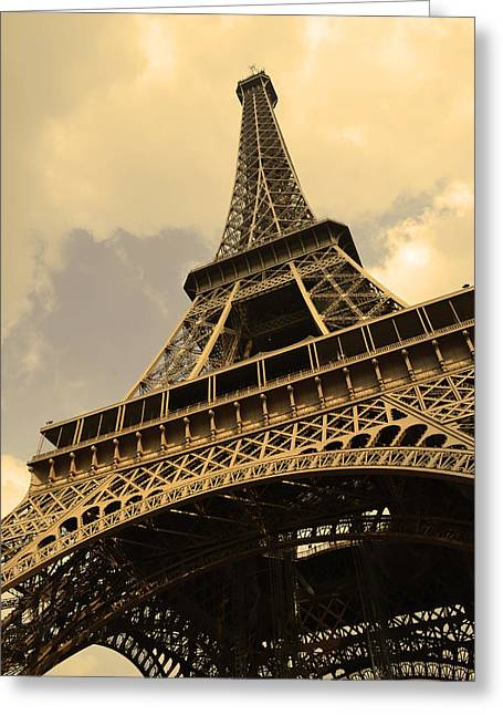 Landscape. Scenic Digital Art Greeting Cards - Eiffel Tower Paris France Sepia Greeting Card by Patricia Awapara