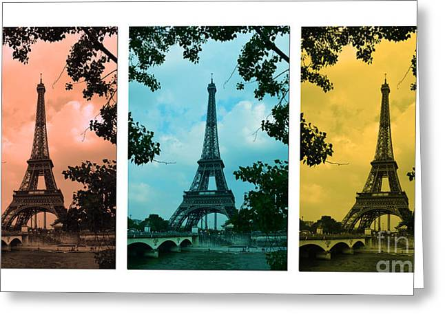 Paris Trees Nature Scenes Greeting Cards - Eiffel Tower Paris France Trio Greeting Card by Patricia Awapara