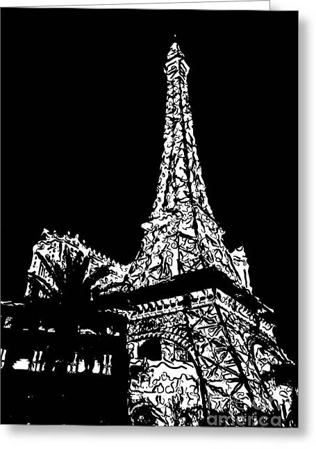 The Strip Greeting Cards - Eiffel Tower Paris Hotel Las Vegas - Pop Art - Black and White Greeting Card by Ian Monk