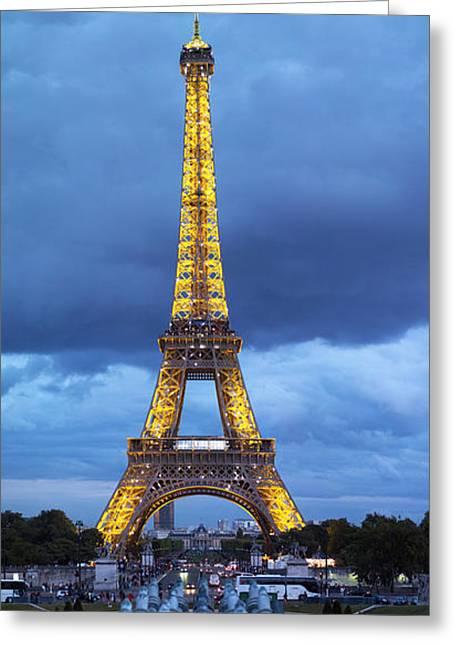 Ile De France Greeting Cards - Eiffel Tower, Paris, Ile-de-france Greeting Card by Panoramic Images