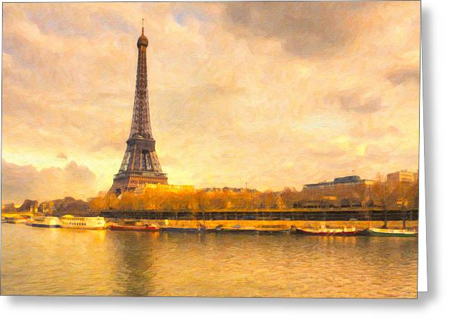Eiffel Tower - Paris In Pastel Greeting Card by Mark E Tisdale