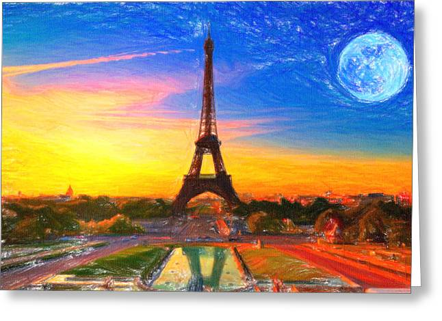 Paradise Road Paintings Greeting Cards - Eiffel tower Paris Greeting Card by MotionAge Designs