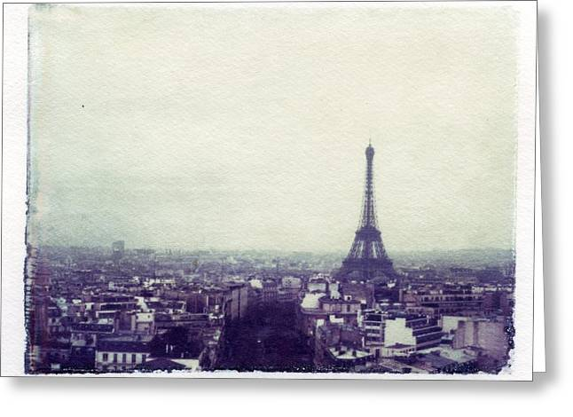 Process Greeting Cards - Eiffel Tower Paris Polaroid transfer Greeting Card by Jane Linders