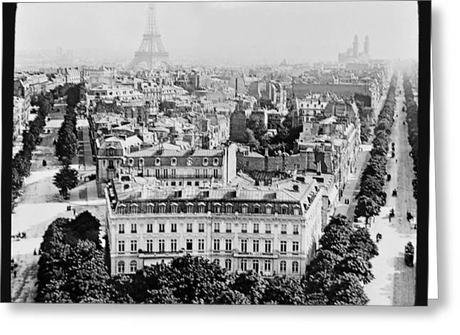 Greeting Card featuring the photograph Eiffel Tower Paris Rooftops1903 by A Gurmankin