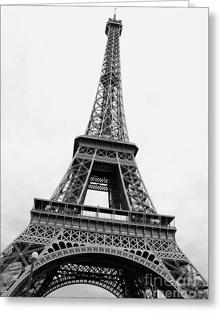 Durst Greeting Cards - Eiffel Tower Perspective - Black and White Greeting Card by Carol Groenen