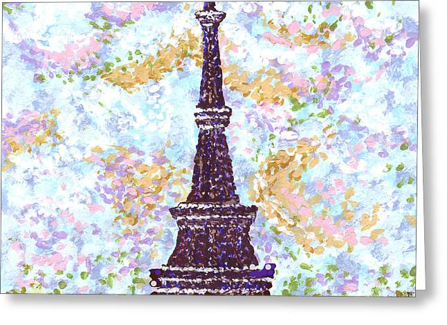 La Grande Jatte Greeting Cards - Eiffel Tower Pointillism Greeting Card by Kristie Hubler