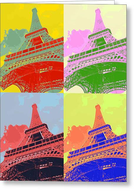 Interesting Design Greeting Cards - Eiffel Tower - Pop art Greeting Card by Patricia Awapara