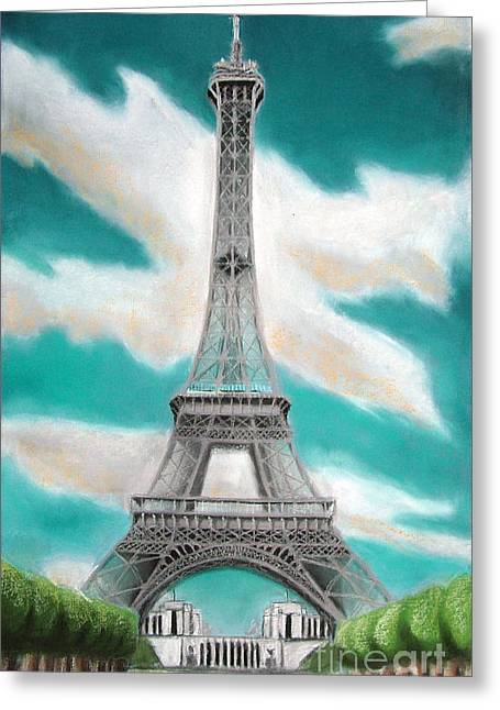 Paris Pastels Greeting Cards - Eiffel Tower Greeting Card by Popokino Art