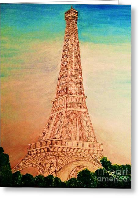 Until Now Greeting Cards - Eiffel Tower Rainbow Greeting Card by Irving Starr