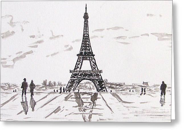 Kevin Croitz Greeting Cards - Eiffel Tower Rainy Day Greeting Card by Kevin Croitz