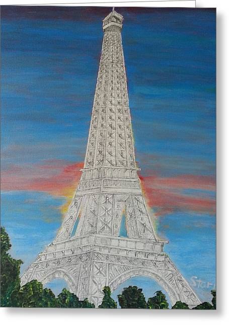 Until Now Greeting Cards - Eiffel Tower Red Sky mm Greeting Card by Irving Starr