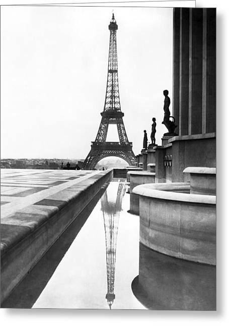 Featured Art Greeting Cards - Eiffel Tower Reflection Greeting Card by Underwood Archives