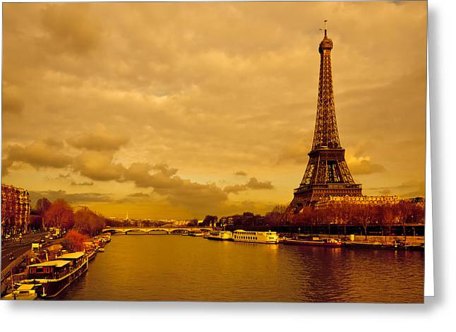 Eiffel Tower Rising Over The Seine Greeting Card by Mark E Tisdale