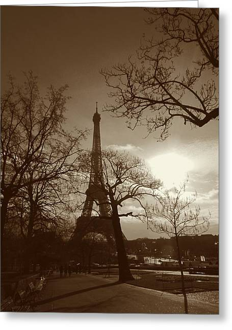 People Walking Greeting Cards - Ill Meet You at The Eiffel Tower Greeting Card by Marianna Mills