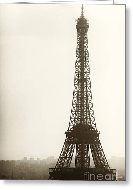 Vintage Eiffel Tower Greeting Cards - Eiffel Tower Silhouette Greeting Card by John Rizzuto