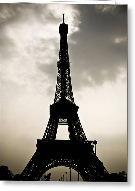 Digital Photographs Greeting Cards - Eiffel Tower Silhouette Greeting Card by Nila Newsom