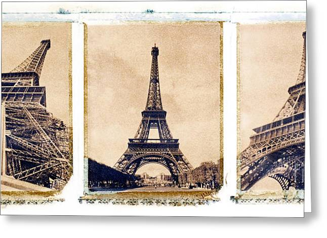 Brown Tone Greeting Cards - Eiffel Tower Greeting Card by Tony Cordoza