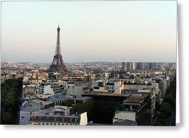 Arc De Triomphe Greeting Cards - Eiffel Tower Viewed From Arc De Greeting Card by Panoramic Images