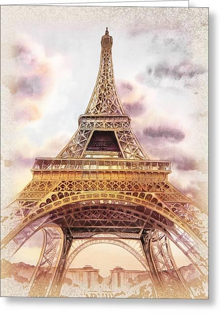Eiffel Tower Vintage Art Greeting Card by Irina Sztukowski