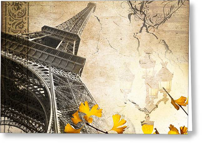 Romanticism Greeting Cards - Eiffel tower vintage collage Greeting Card by Delphimages Photo Creations