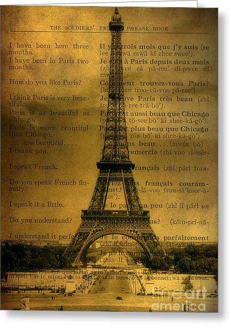 Becky Digital Greeting Cards - Eiffel Tower Vintage Postcard Greeting Card by Becky Hayes