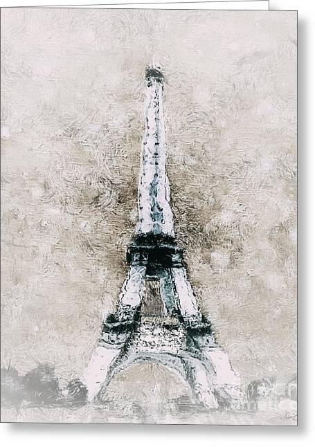 Neutral Background Greeting Cards - Eiffel Tower Wall Art Greeting Card by Shanina Conway