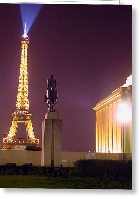 Mietko Greeting Cards - Eiffel tower with a monument Greeting Card by Mieczyslaw Rudek Mietko