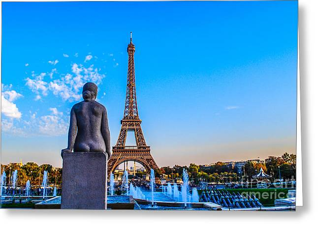 Paris Trees Nature Scenes Greeting Cards - Eiffel View from Trocadero Greeting Card by Remi D Photography