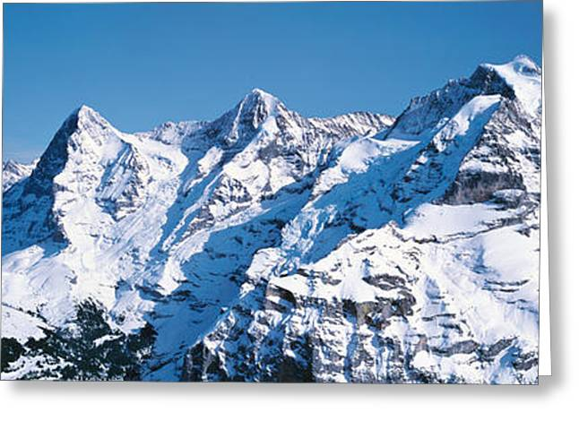 Snow Capped Greeting Cards - Eiger & Monch Switzerland Greeting Card by Panoramic Images