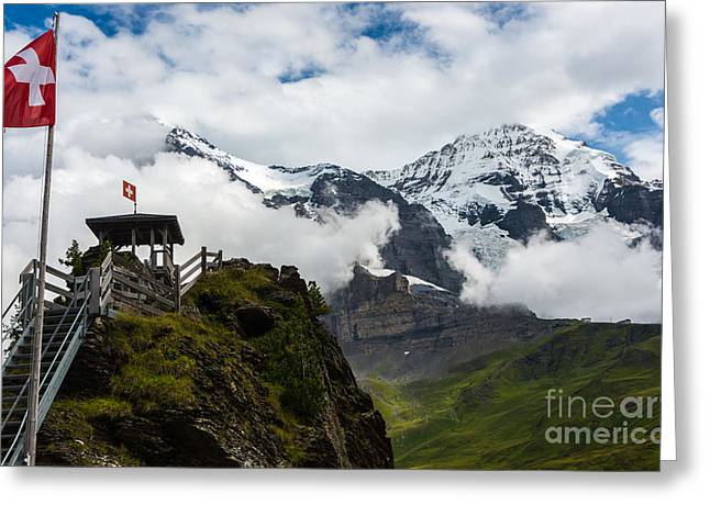 Swiss Photographs Greeting Cards - Eiger and Monk in the Clouds - Swiss Alps Greeting Card by Gary Whitton