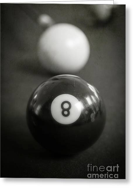Ball Games Greeting Cards - Eight Ball Greeting Card by Edward Fielding