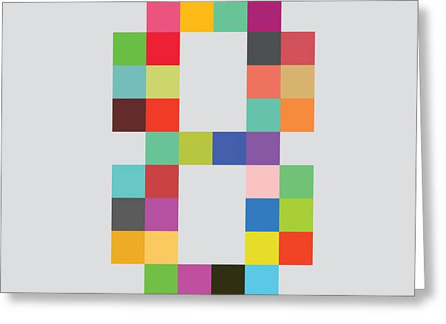 Color Digital Art Greeting Cards - Eight bit Greeting Card by Budi Satria Kwan