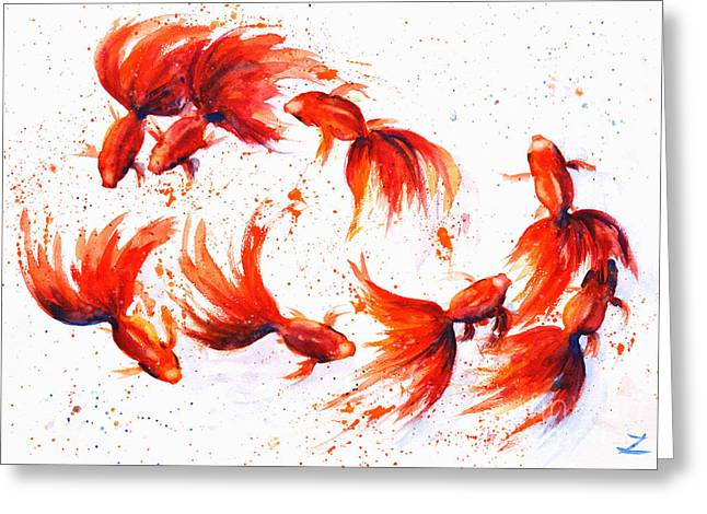 Eight Greeting Cards - Eight Dancing Goldfish  Greeting Card by Zaira Dzhaubaeva