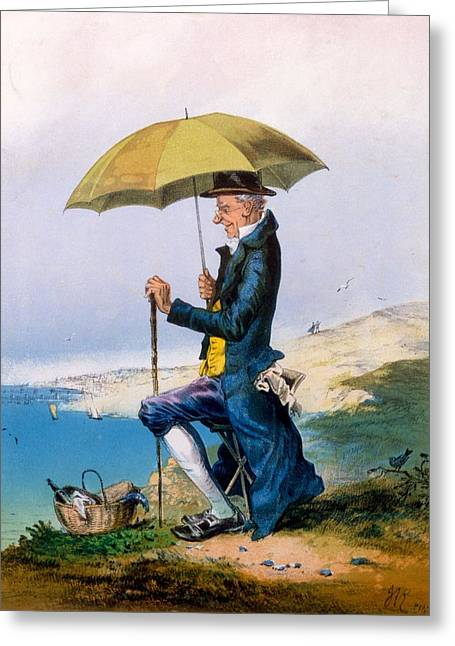 Umbrella Drawings Greeting Cards - Eight Hours At Seaside For Three Greeting Card by English School