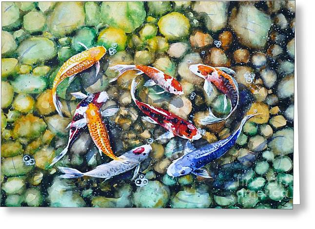 Best Sellers -  - Occasion Greeting Cards - Eight Koi Fish Playing with Bubbles Greeting Card by Zaira Dzhaubaeva