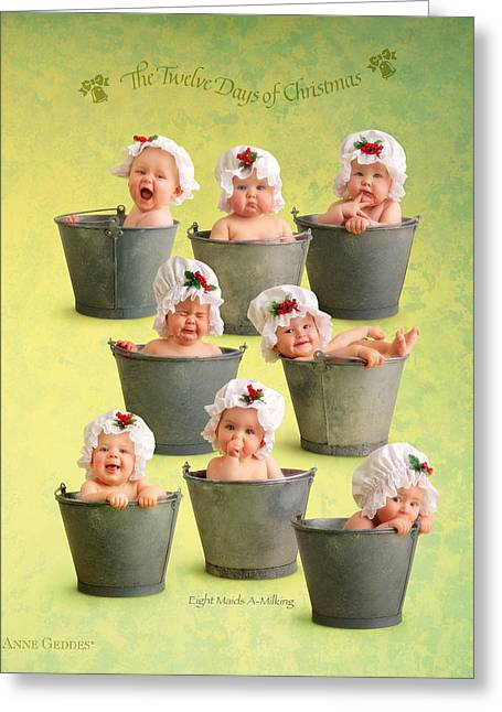 12 Days Of Christmas Greeting Cards - Eight Maids-a-Milking Greeting Card by Anne Geddes