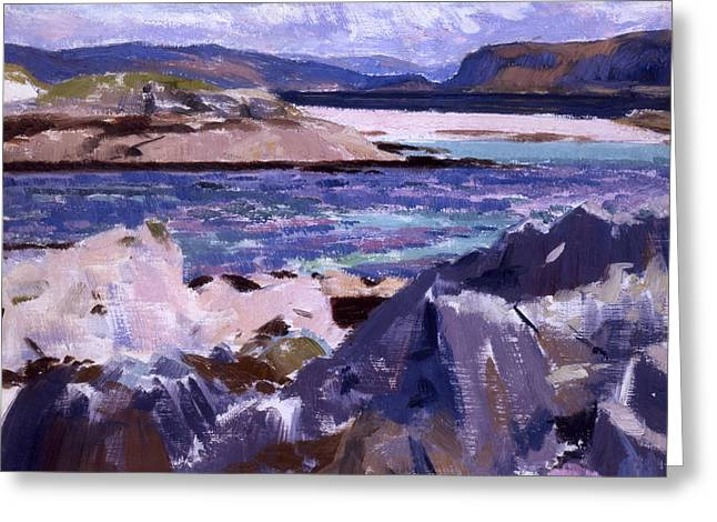 Blue Green Water Greeting Cards - Eilean Annraidh from the north end Greeting Card by Francis Campbell Boileau Cadell