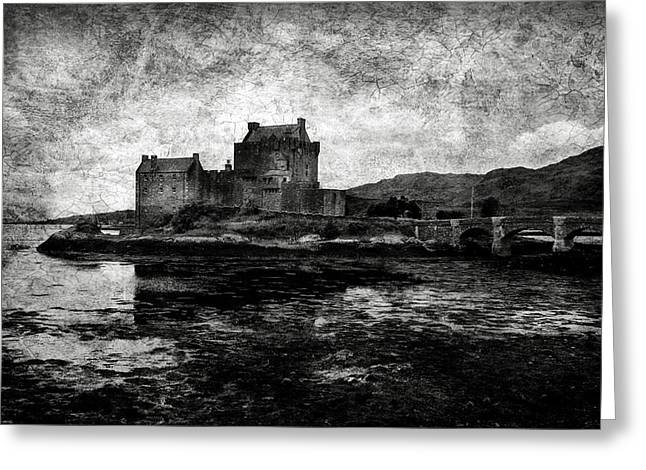 Martyrs Greeting Cards - Eilean Donan castle in Scotland BW Greeting Card by RicardMN Photography