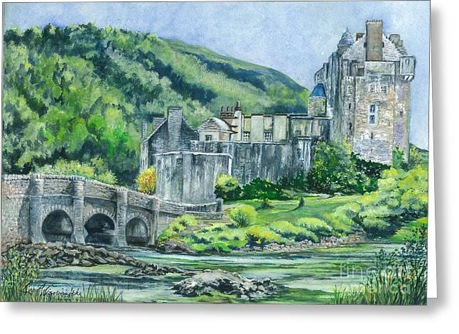 Rocks Drawings Greeting Cards - Eilean Donan Castle in Scotland ii Greeting Card by Carol Wisniewski