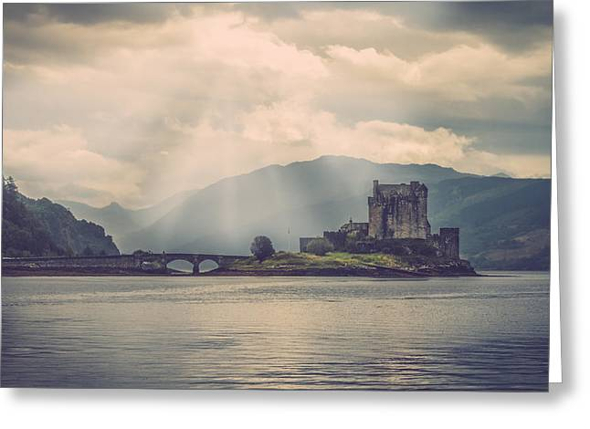 Medival Greeting Cards - Eilean Donan Castle with the Loch Duich Greeting Card by Leander Nardin
