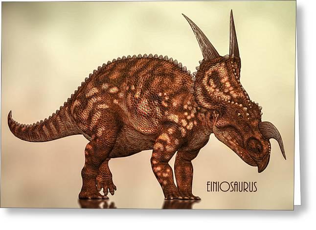 Dinosaurs Greeting Cards - Einiosaurus Greeting Card by Bob Orsillo