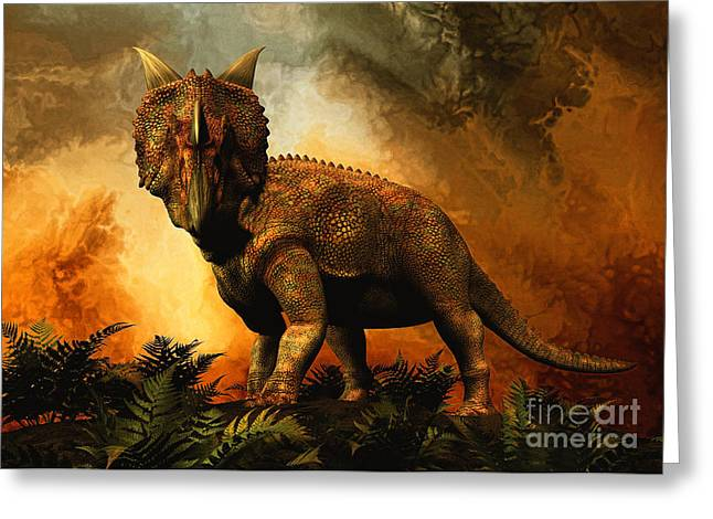 Looking At The Past Greeting Cards - Einiosaurus Was A Ceratopsian Dinosaur Greeting Card by Philip Brownlow