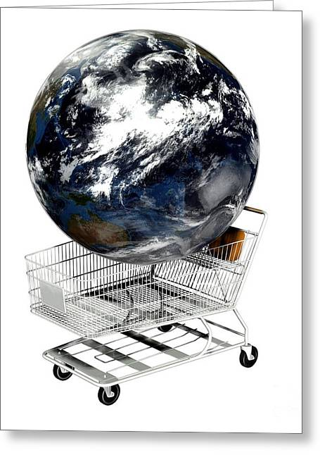 Globalization Greeting Cards - Einkaufswagen  Shopping Cart Greeting Card by Friedrich Saurer