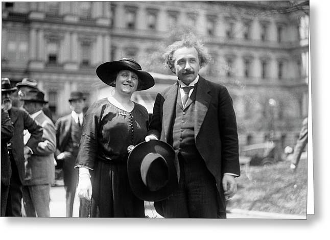 Einstein And His Second Wife Elsa Greeting Card by Library Of Congress