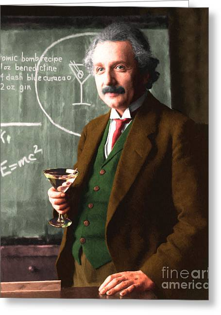 Spoof Greeting Cards - Einstein Discovers The Atomic Bomb 20140910 Greeting Card by Wingsdomain Art and Photography