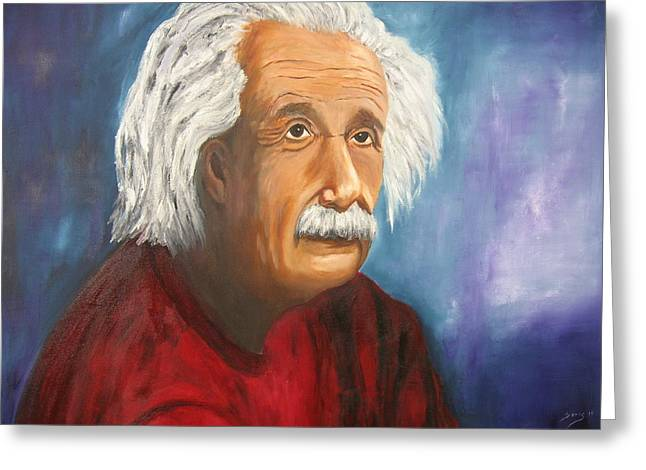 Figure Based Greeting Cards - Einstein Greeting Card by Doris Cohen