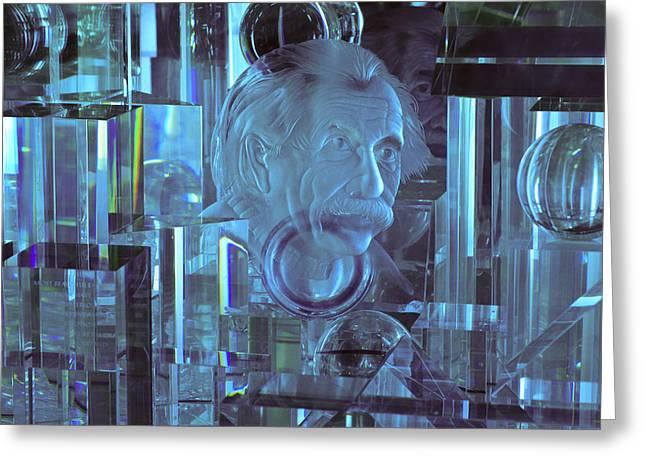 Mad Scientist Greeting Cards - Einstein in Crystal - Blue Greeting Card by Christi Kraft